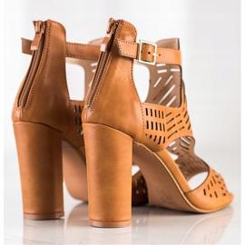 Renda Ażurowe Sandały Fashion brązowe 2