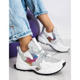 SHELOVET Sneakersy Z Siateczką Fashion białe 3