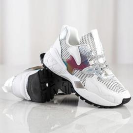 SHELOVET Sneakersy Z Siateczką Fashion białe 2