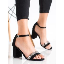 Laura Mode Stylowe Sandałki Na Obcasie czarne 3