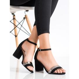 Laura Mode Stylowe Sandałki Na Obcasie czarne 1