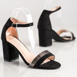 Laura Mode Stylowe Sandałki Na Obcasie czarne 2