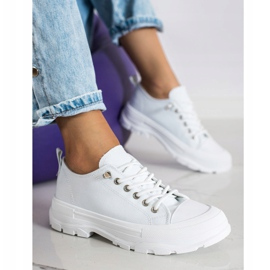 Sabatina Modne Sneakersy Na Platformie białe 2