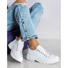 Sabatina Modne Sneakersy Na Platformie białe 3