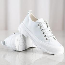 Sabatina Modne Sneakersy Na Platformie białe 1