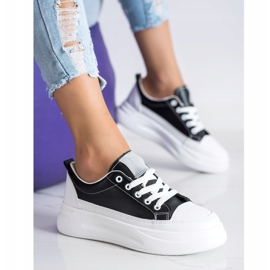SHELOVET Trampki Fashion Na Platformie czarne 2