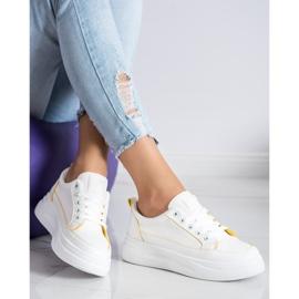 SHELOVET Trampki Fashion Na Platformie białe 3