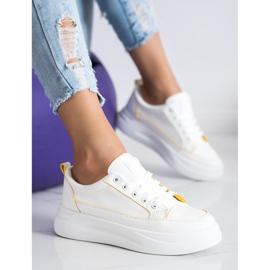 SHELOVET Trampki Fashion Na Platformie białe 2