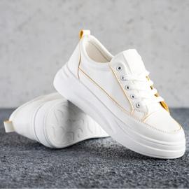 SHELOVET Trampki Fashion Na Platformie białe 1