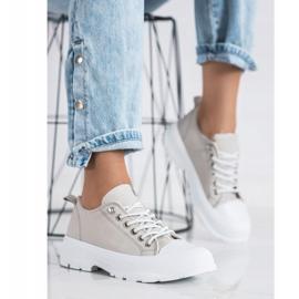 Sabatina Modne Sneakersy Na Platformie beżowy 2