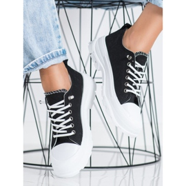 Sabatina Modne Sneakersy Na Platformie czarne 3