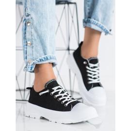 Sabatina Modne Sneakersy Na Platformie czarne 1