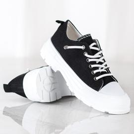 Sabatina Modne Sneakersy Na Platformie czarne 2