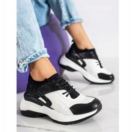 Melisa Wiązane Klasyczne Sneakersy białe czarne 3