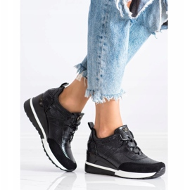 Sneakersy Na Koturnie VINCEZA czarne 4