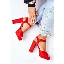PW1 Zamszowe Sandały Na Słupku Czerwone Camilia 1