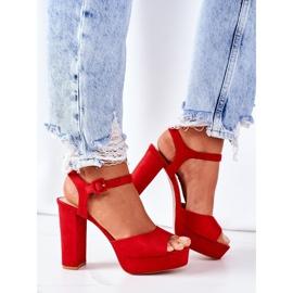 PW1 Zamszowe Sandały Na Słupku Czerwone Camilia 5