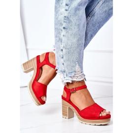 PW1 Sandały Na Słupku I Platformie Czerwone Maggie 4