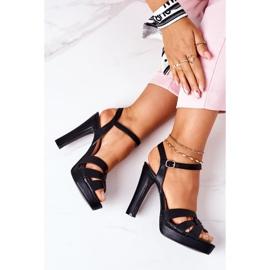 PW1 Eleganckie Sandały Na Słupku Czarne Anastasia 1