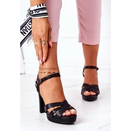 PW1 Eleganckie Sandały Na Słupku Czarne Anastasia 2