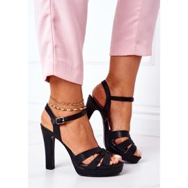 PW1 Eleganckie Sandały Na Słupku Czarne Anastasia 3