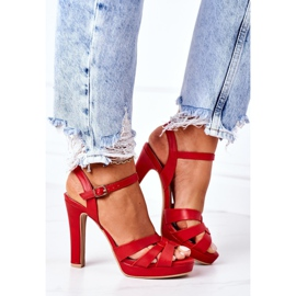 PW1 Eleganckie Sandały Na Słupku Czerwone Anastasia 3