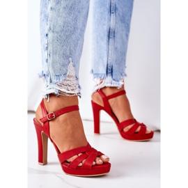 PW1 Eleganckie Sandały Na Słupku Czerwone Anastasia 1