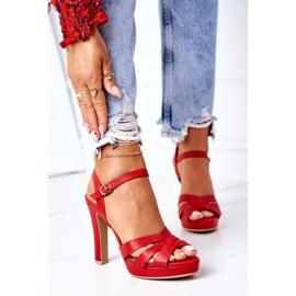 PW1 Eleganckie Sandały Na Słupku Czerwone Anastasia 2