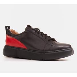 Marco Shoes Czarne skórzane sneakersy z wstawką na pięcie 1