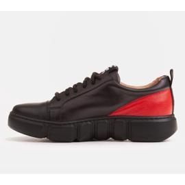 Marco Shoes Czarne skórzane sneakersy z wstawką na pięcie 2