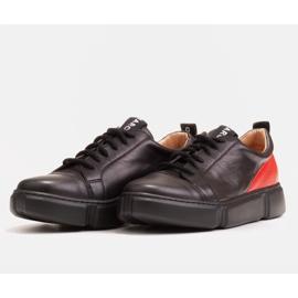 Marco Shoes Czarne skórzane sneakersy z wstawką na pięcie 4