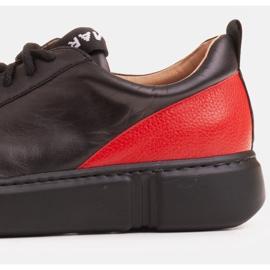 Marco Shoes Czarne skórzane sneakersy z wstawką na pięcie 6