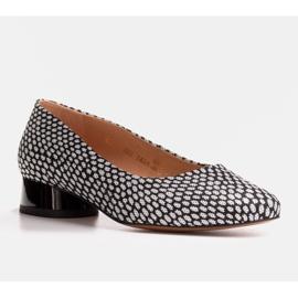 Marco Shoes Baleriny w biało-czarne wzory białe 1