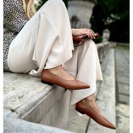 Marco Shoes Baleriny z brązowej skóry licowej 5