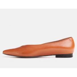 Marco Shoes Baleriny z brązowej skóry licowej 1