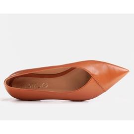 Marco Shoes Baleriny z brązowej skóry licowej 2