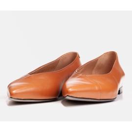 Marco Shoes Baleriny z brązowej skóry licowej 4