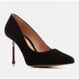 Marco Shoes Szpilki czarne z metalicznym obcasem 4