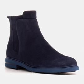 Marco Shoes Lekkie botki ocieplane na płaskim spodzie z naturalnej skóry granatowe 6