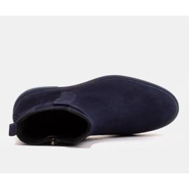 Marco Shoes Lekkie botki ocieplane na płaskim spodzie z naturalnej skóry granatowe 3