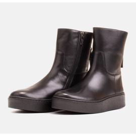 Marco Shoes Ocieplane botki sportowe na obszywanym spodzie czarne 3
