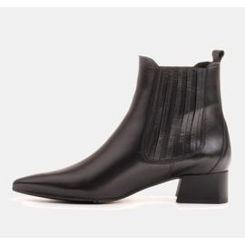 Marco Shoes Ocieplane eleganckie botki z elastyczną gumą w cholewce czarne 6