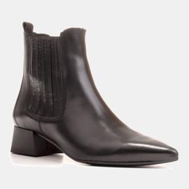 Marco Shoes Ocieplane eleganckie botki z elastyczną gumą w cholewce czarne 3
