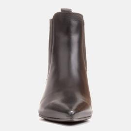 Marco Shoes Ocieplane eleganckie botki z elastyczną gumą w cholewce czarne 4