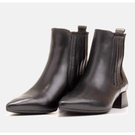 Marco Shoes Ocieplane eleganckie botki z elastyczną gumą w cholewce czarne 5