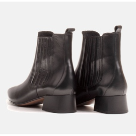 Marco Shoes Ocieplane eleganckie botki z elastyczną gumą w cholewce czarne 8