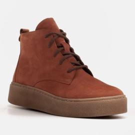 Marco Shoes Niskie botki sznurowane z miękkiej skóry pomarańczowe 1