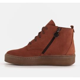 Marco Shoes Niskie botki sznurowane z miękkiej skóry pomarańczowe 2