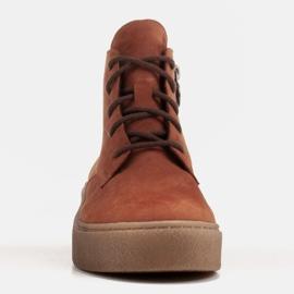 Marco Shoes Niskie botki sznurowane z miękkiej skóry pomarańczowe 3