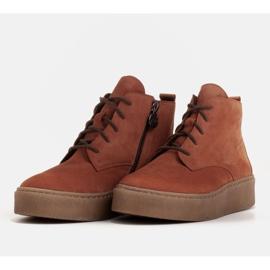 Marco Shoes Niskie botki sznurowane z miękkiej skóry pomarańczowe 4
